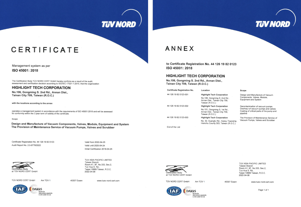 ISO 45001 Occupational Health and Safety certified