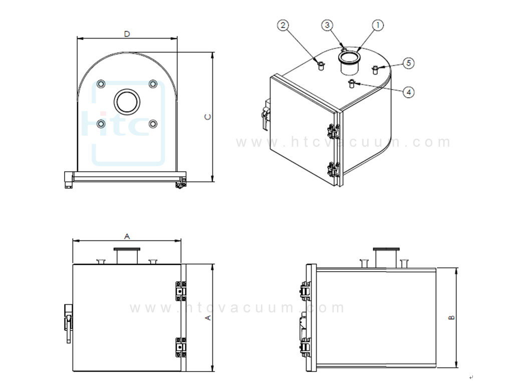 D shape vacuum chamber Schematic
