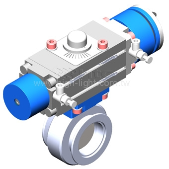 3-Position butterfly valve-Pneumatic actuated valve | Htc vacuum