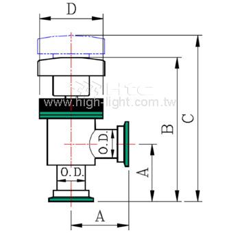 Manual Teflon Coating Vacuum Angle Valve